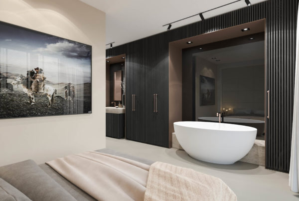 Artist impression interior bedroom bathroom topr